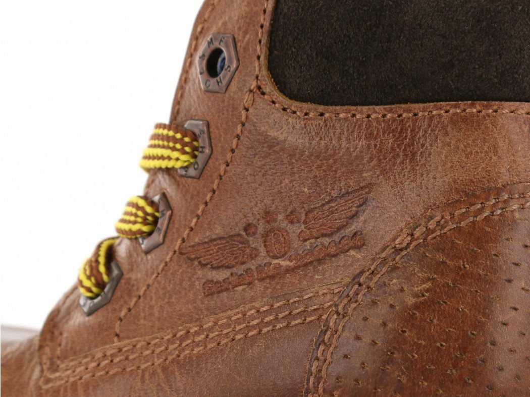 Shoesme cognackleurige veterboot met gele veters