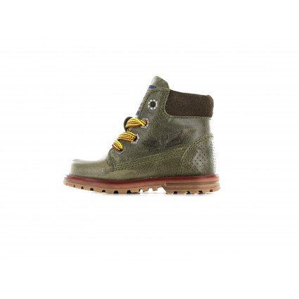Shoesme armygreen veterboot met gele veters