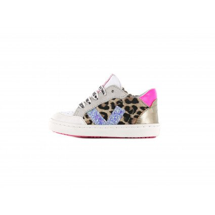 Shoesme luipaardprint sneaker met girly details