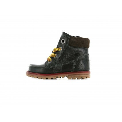 Shoesme zwarte veterboot met gele veters
